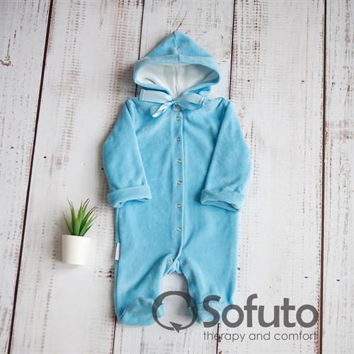 Комбинезон велюровый на кнопках Sofuto baby Blue - фото 9963