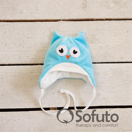 Шапочка велюровая утепленная на завязках Sofuto baby Owl laguna - фото 9997