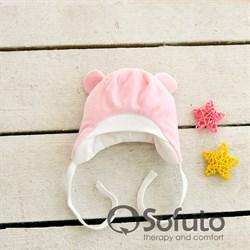 Шапочка велюровая утепленная на завязках Sofuto baby Rose simple