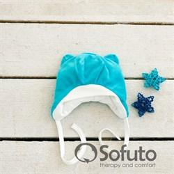 Шапочка велюровая утепленная на завязках Sofuto baby Vincent бирюзовая