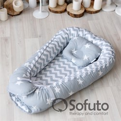 Кокон-гнездышко Sofuto Babynest Stars and waves silver