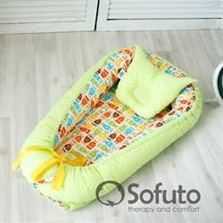 Кокон-гнездышко Sofuto Babynest Owl sand