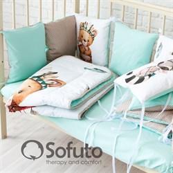 Комплект бортиков + стеганое одеяло Sofuto Babyroom cute Indians
