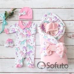 Комплект на выписку холодное лето (6 предметов) Sofuto baby unicorn