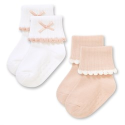 """Носочки 2 пары """"Классика"""" трикотаж белый-розовый"""