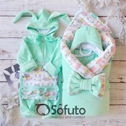 Комплект на выписку зимний ( 6 предметов) Sofuto baby Bunny mint