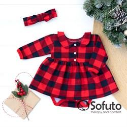 Боди детское с юбочкой и повязкой Sofuto baby Red check