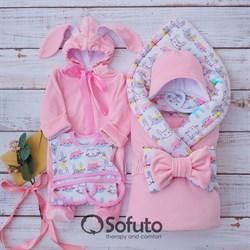 Комплект на выписку демисезонный (6 предметов) Sofuto baby Pink Rabbit