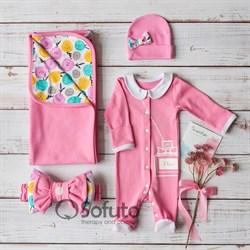 Комплект на выписку летний (4 предметa) Sofuto baby Rosa Dior
