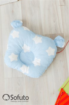 Подушка для новорожденного Sofuto Baby pillow Teddy Stars and waves blue sky