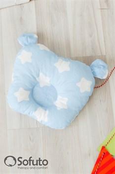 Подушка для новорожденного Sofuto Baby pillow Teddy Stars and waves blue sky