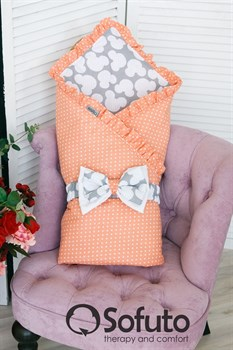 Конверт-одеяло на выписку Sofuto Mimi dots peach