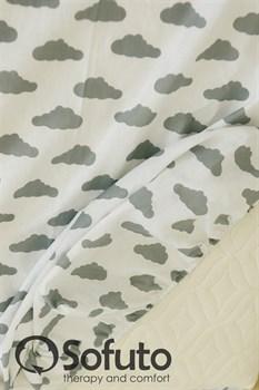 Простынь на резинке Sofuto Babyroom Clouds silver