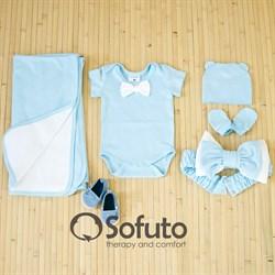 Комплект на выписку жаркое лето (5 предметов) Sofuto baby Blue simple