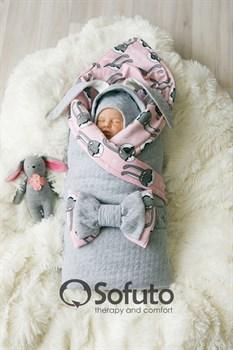 Комплект на выписку теплая осень (7 предметов) Sofuto baby Pink rabbit