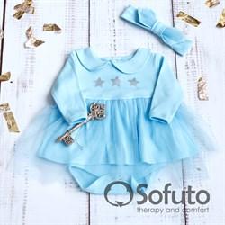 Боди-платье фатиновое с повязкой Sofuto baby blue