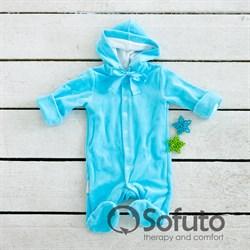 Комбинезон велюровый на кнопках Sofuto baby Bunny голубой