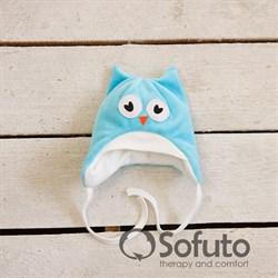 Шапочка велюровая утепленная на завязках Sofuto baby Owl laguna