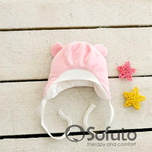 Шапочка велюровая утепленная на завязках Sofuto baby Rose simple - фото 10002