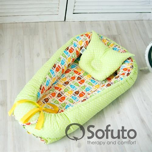 Кокон-гнездышко Sofuto Babynest Owl sand - фото 10138