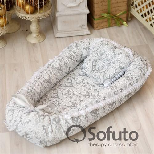 Кокон-гнездышко Sofuto Babynest Barocco silver - фото 10142