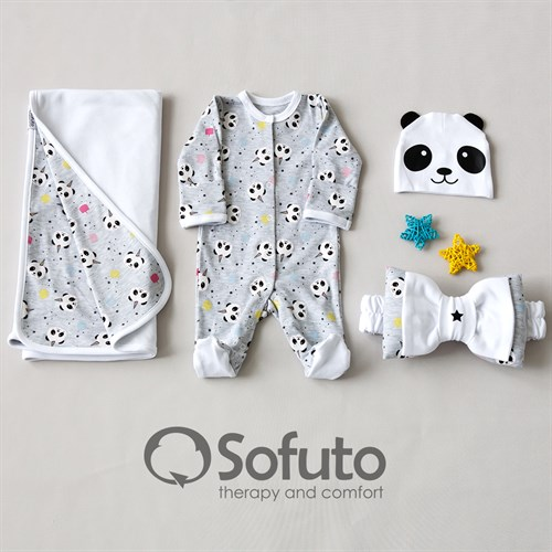 Комплект на выписку летний (4 предмета) Sofuto baby magic Panda - фото 10245