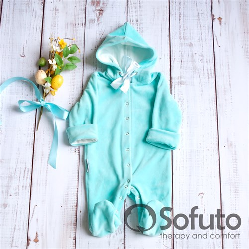 Комбинезон велюровый на кнопках Sofuto baby Mint - фото 10542