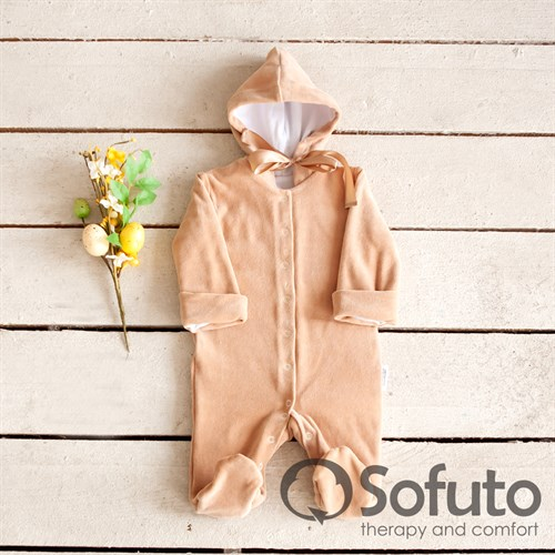 Комбинезон велюровый на кнопках Sofuto baby Sand - фото 10559