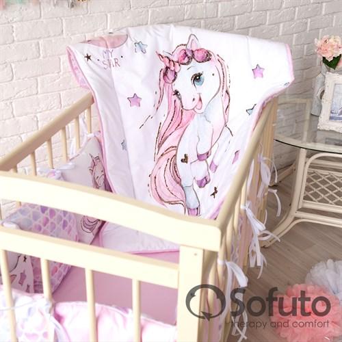 Комплект бортиков + стеганое одеяло Sofuto Babyroom Unicorn - фото 10585