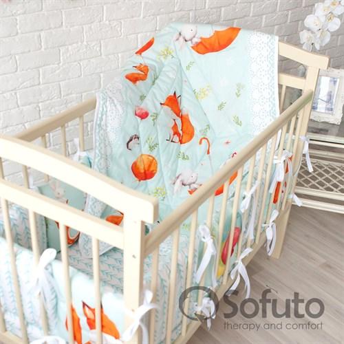 Комплект бортиков + стеганое одеяло Sofuto Babyroom Cute fox - фото 10597