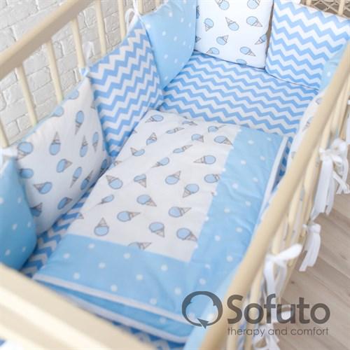 Комплект бортиков + стеганое одеяло Sofuto Babyroom Ice cream blue - фото 10612