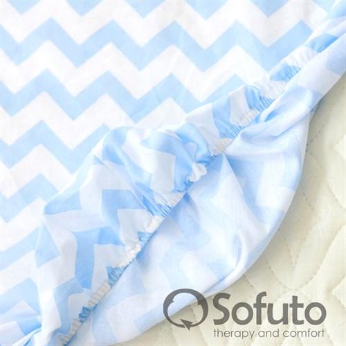Простынь на резинке Sofuto Babyroom Stars and waves blue sky - фото 10629