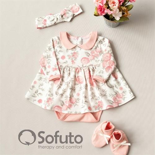 Комплект из боди-платья  с аксессуарами Sofuto baby Vintage poudre - фото 10912