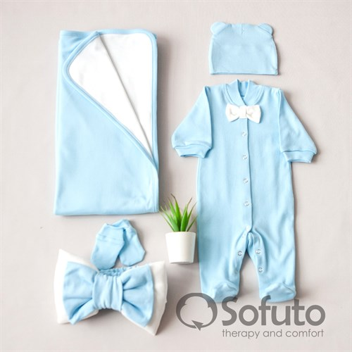 Комплект на выписку летний (5 предметов) Sofuto baby Blue simple - фото 10920