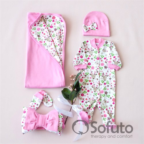 Комплект на выписку летний (5 предметов) Sofuto baby Flowers - фото 10926