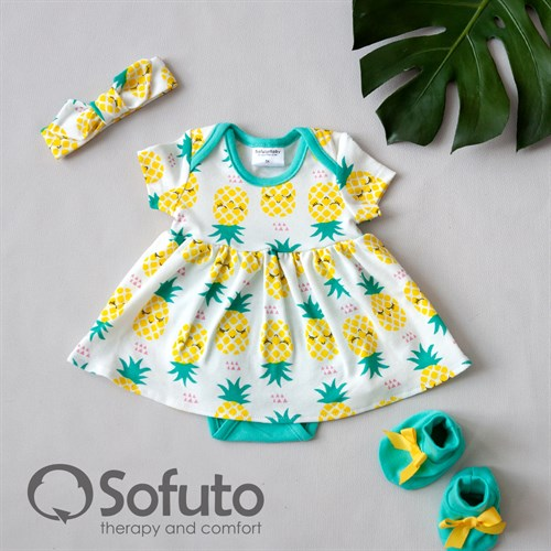 Комплект из боди-платья с аксессуарами Sofuto baby Pineapple - фото 11036
