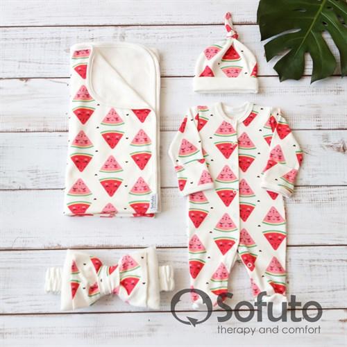 Комплект на выписку летний (4 предмета) Sofuto baby Watermelon - фото 11185