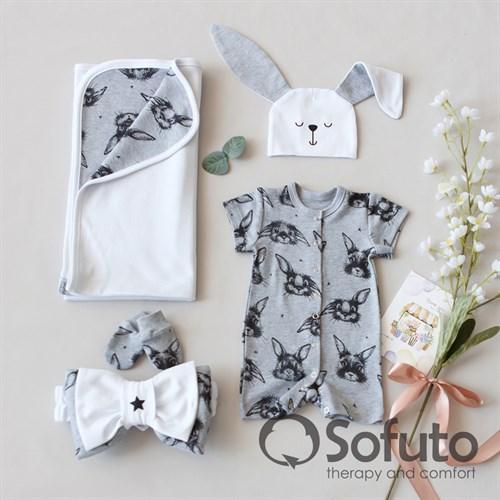 Комплект на выписку жаркое лето (5 предметов) Sofuto baby Rabbit - фото 11200