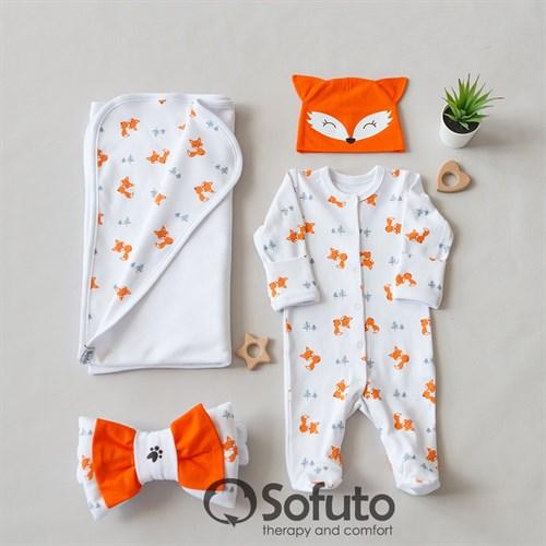 Комплект на выписку летний (4 предмета) Sofuto baby Foxy - фото 11254