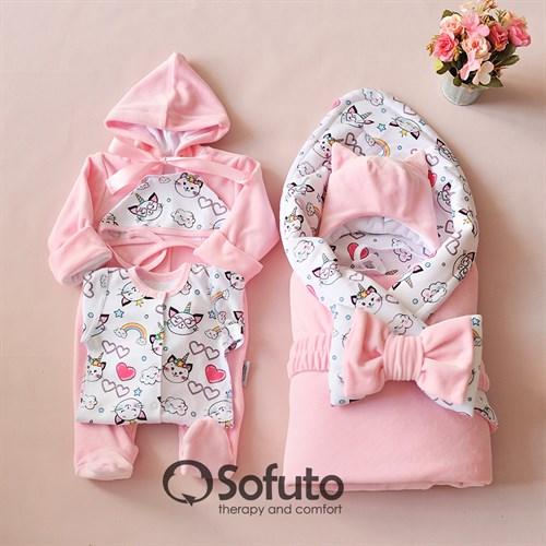 Комплект на выписку демисезонный (6 предметов) швами наружу Sofuto baby Caticorn