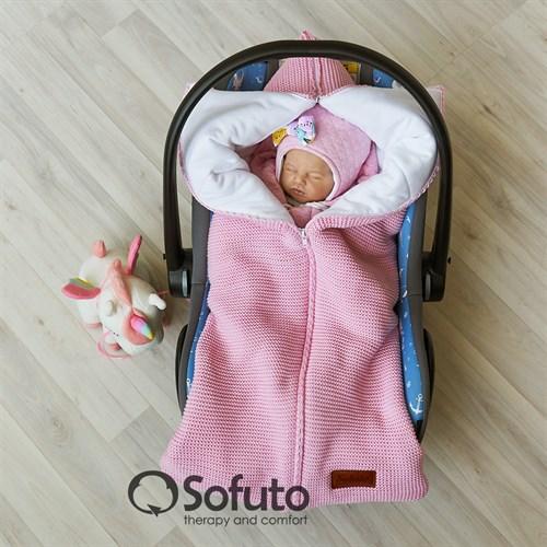 Конверт для автокресла вязаный Sofuto Knite pink