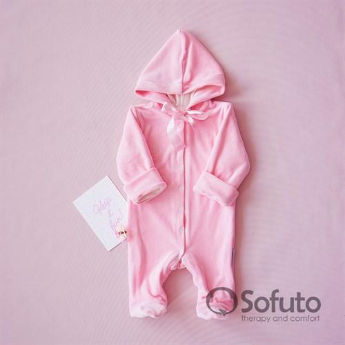 Комбинезон велюровый на кнопках Sofuto baby Rose simple