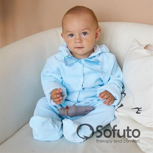 Комбинезон велюровый на кнопках Sofuto baby Blue simple