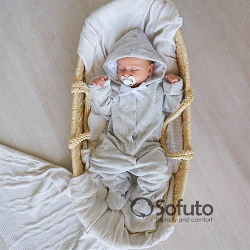 Комбинезон велюровый на кнопках Sofuto baby Light gray