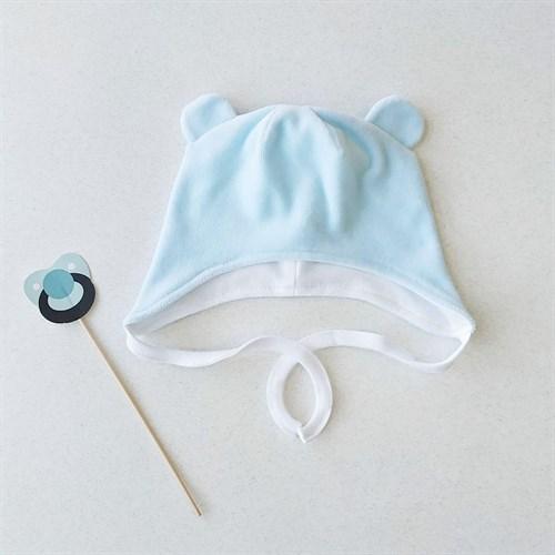 Шапочка велюровая с ушками на завязках Sofuto baby в ассортименте - фото 12051