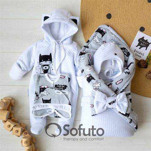 Комплект на выписку холодная зима (6 предметов) Sofuto baby Supercat - фото 12151