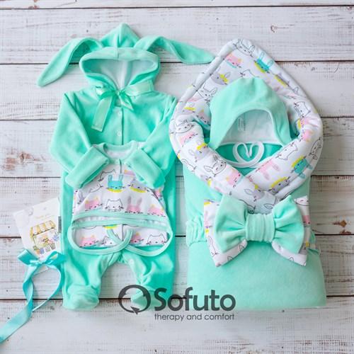 Комплект на выписку демисезонный (6 предметов) Sofuto baby Bunny mint - фото 12165