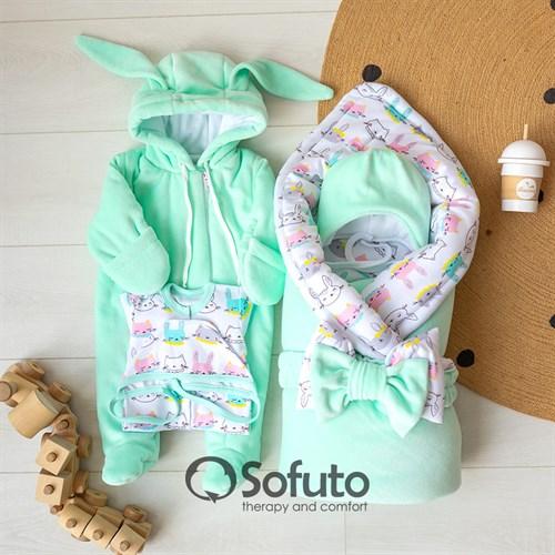 Комплект на выписку холодная зима (6 предметов) Sofuto baby Bunny mint