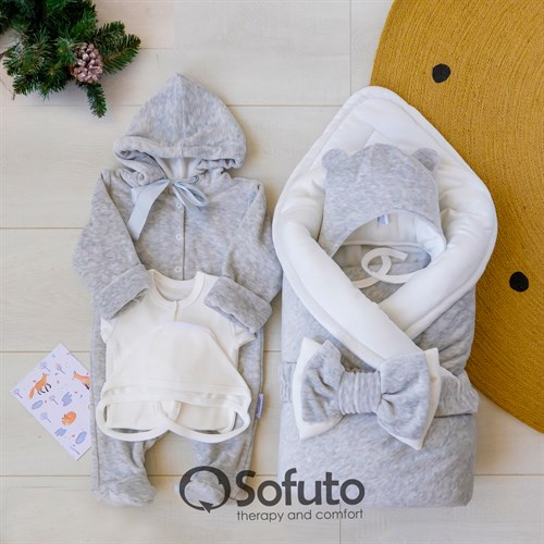 Комплект на выписку зимний (6 предметов) Sofuto baby Light grey - фото 12302
