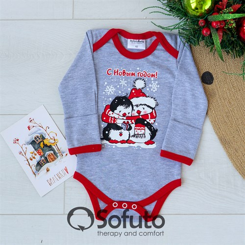 Боди детское Sofuto baby new year Gray - фото 12364